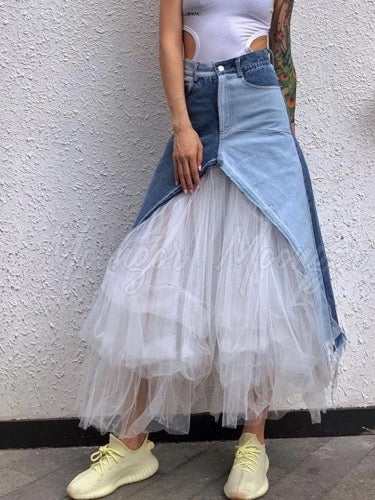 Fashion Split-joint Gauze Skirt