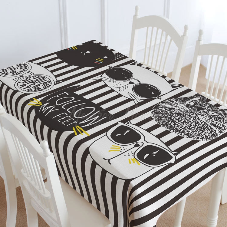 Striped Cats Casual Printed Tablecloth