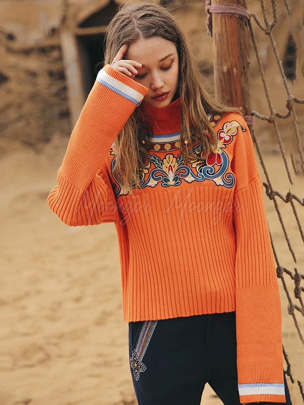 Liebo Ethnic Style Embroidered Turtleneck Sweater
