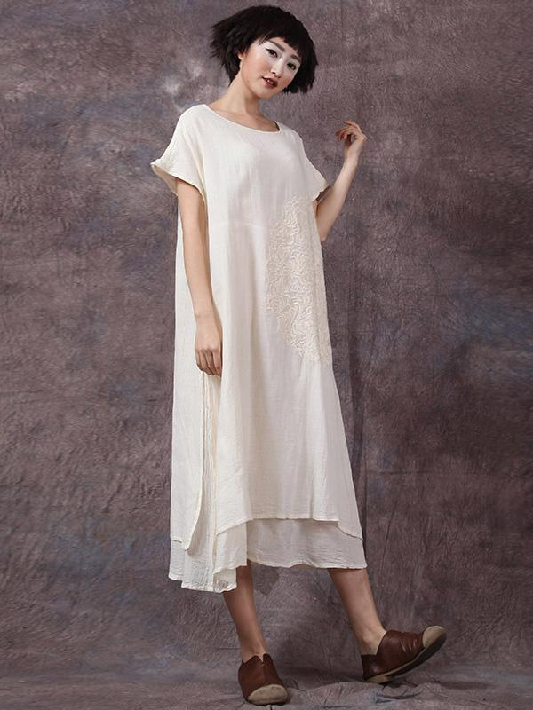 cffb7e75924 3 Color Round-neck Embroidered Ramie Cotton Long Dress – moongor