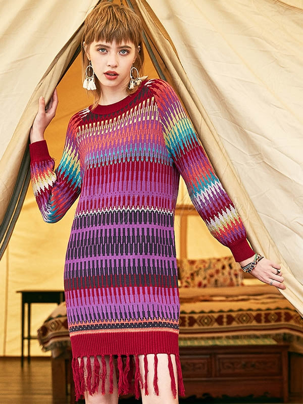 Liebo Casual Colorful Knitting Sweater Dress