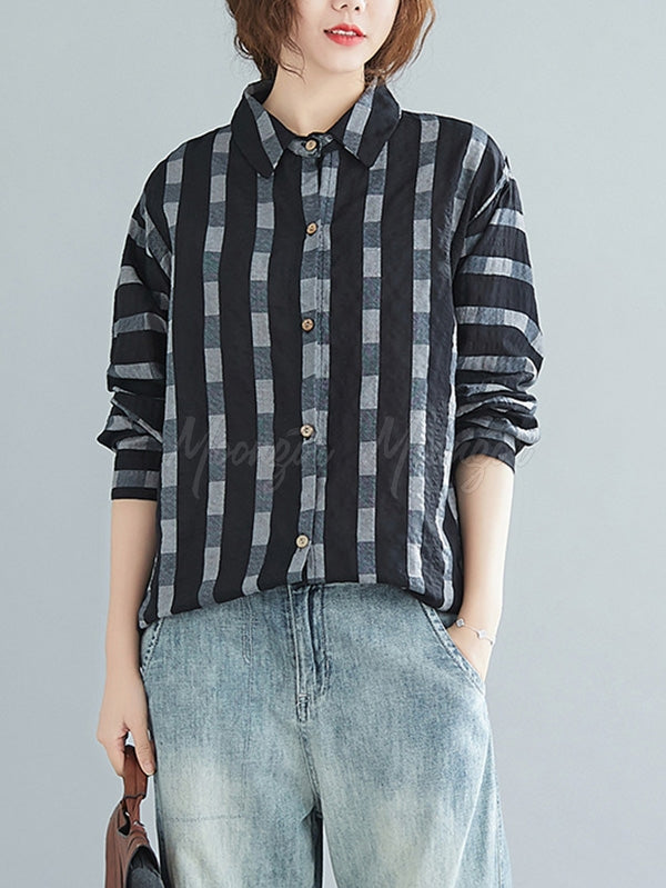 Casual Plaid Split-Joint Shirts