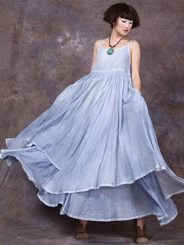 c25d72178b2 Soft National Split Joint Cotton Long Dress – moongor