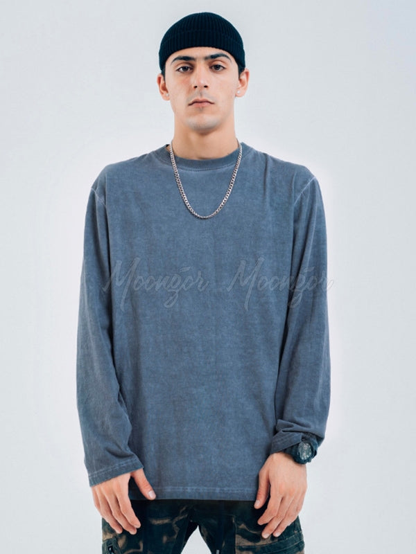Men Washed Old Stained Long-Sleeved T-Shirt