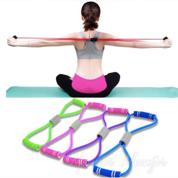 8 Word Chest Expander Yoga Fitness Resistance Bands