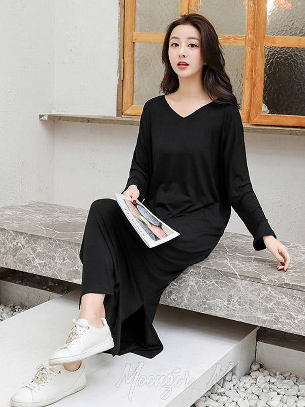 Comfortable Solid Color Loose V-Neck Pajamas