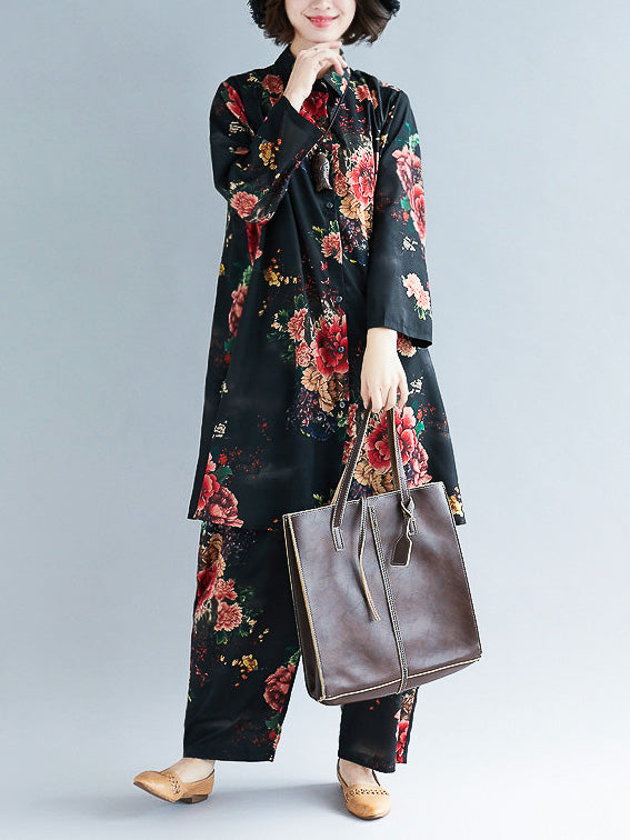 Loose Black Flower Print Lapel Long Sleeves Blouse + Pants Suits