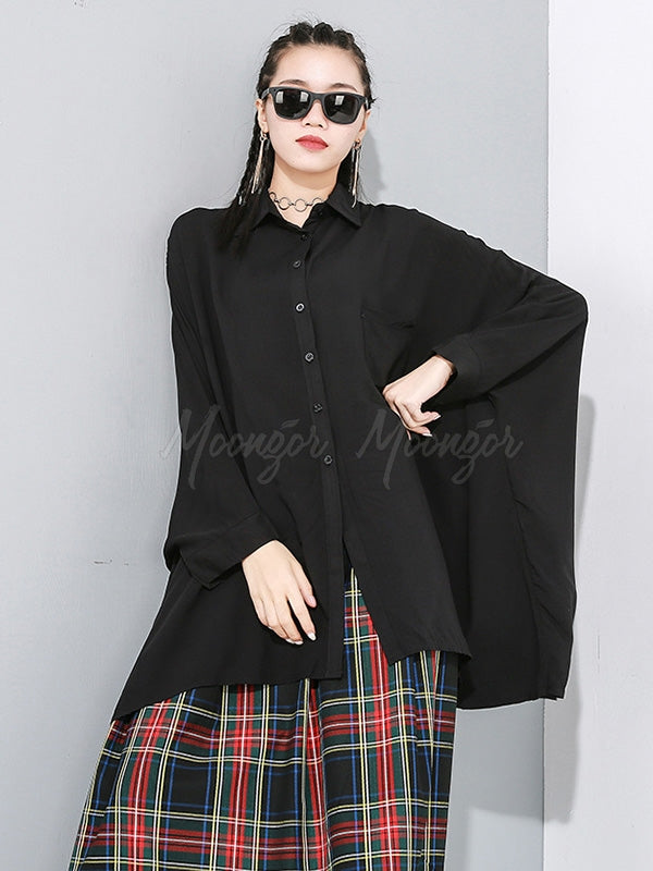 Black Loose Cropped Lapel Shirt