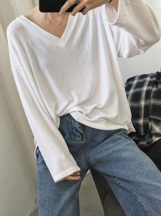 Pure Color V-neck Primer Shirt Sweater