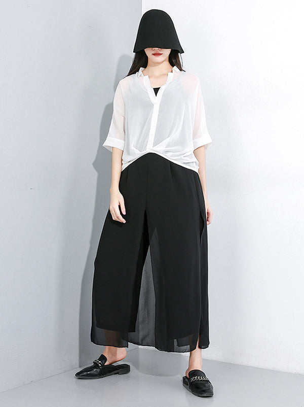 Chiffon False-Two Wide Leg Pants