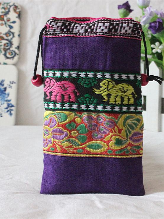 7 Colors Folk Embroidered Phone Handbag