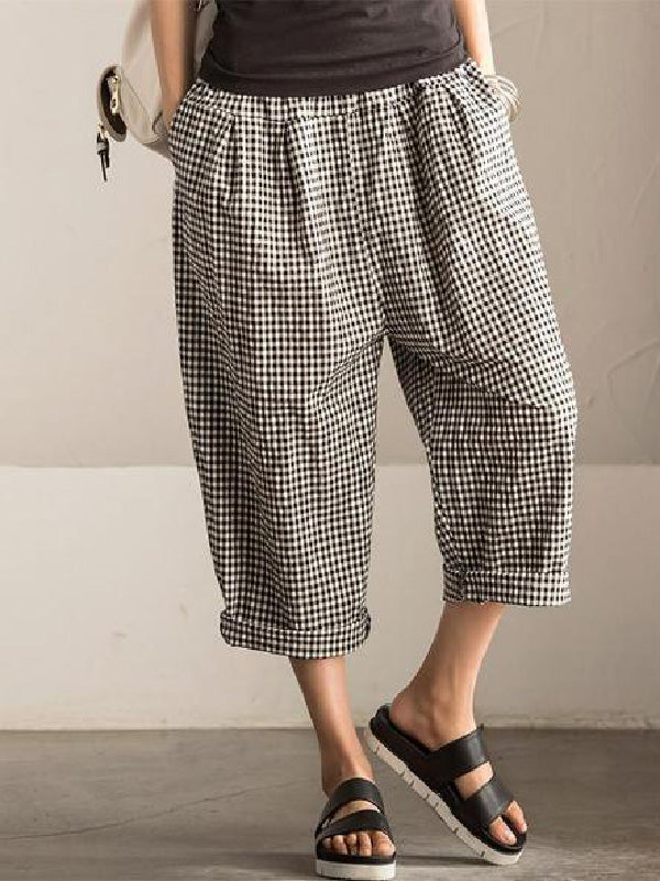 Casual Vintage Plaid Elastic Waist Pants