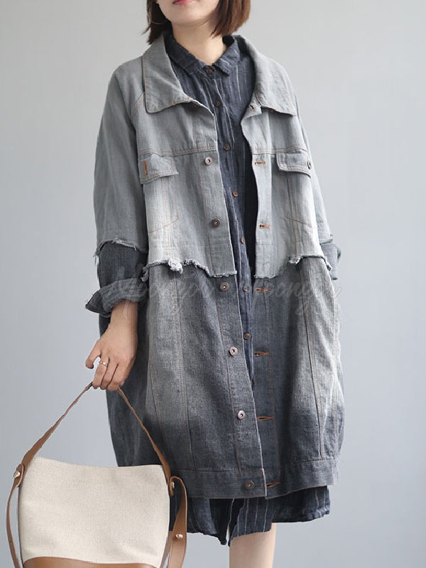 Vintage Split-joint Lapel Denim Outwear