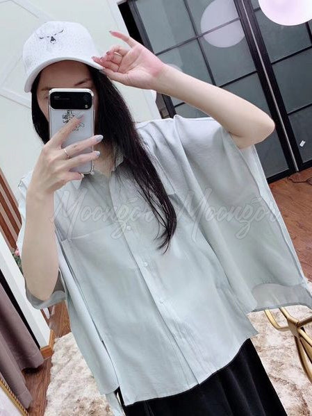 Casual Cotton Cropped Shirt