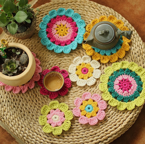 Hand Hook Flower Coaster Eight-piece Set