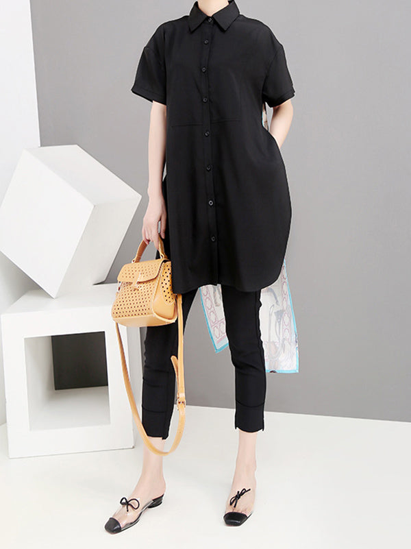 High-low Short Sleeves Backless Shirt