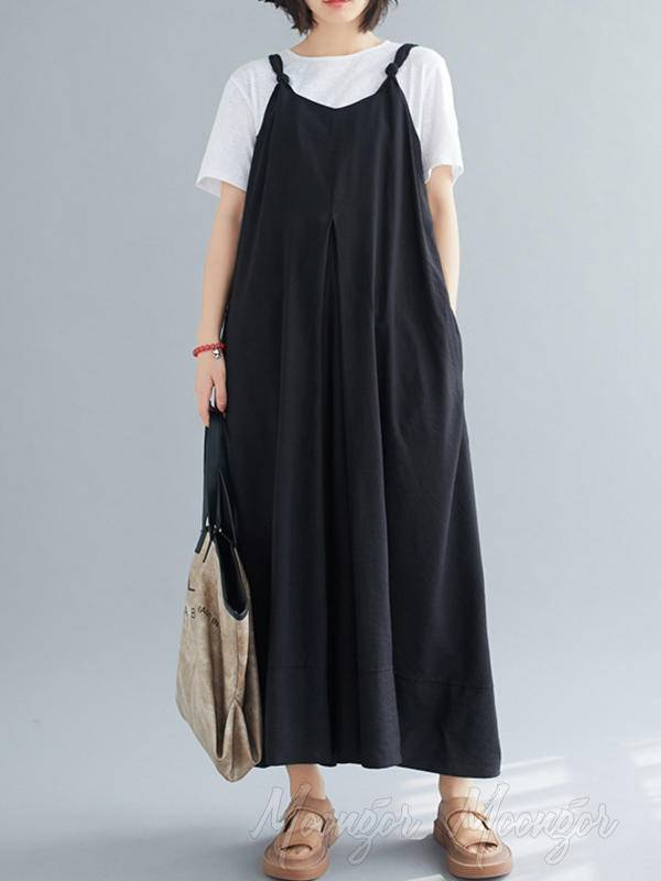 Loose Simple Solid Wide Leg Jumpsuits