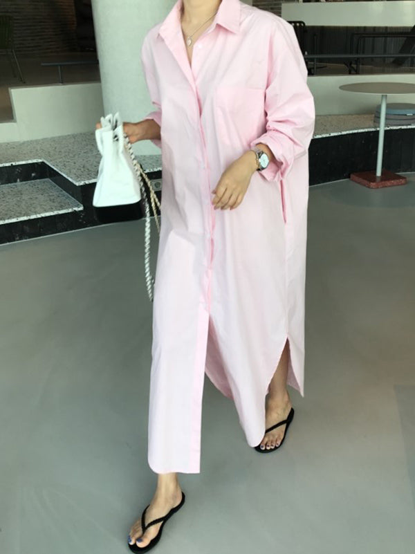 New Loose BF Style Long Shirt Dress