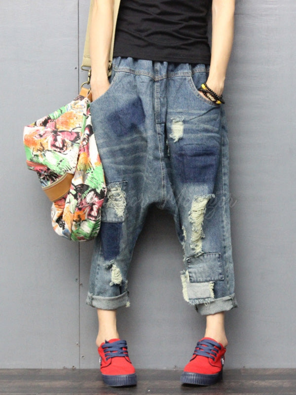Vintage Tattered Mill White Patches Jean Pants