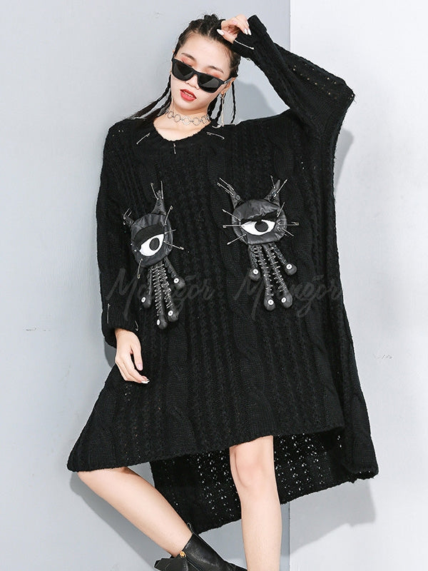 Thickening Cropped Removable Doll Sweater Dress