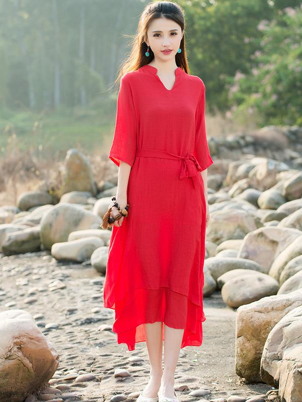 2fba801f16e93 National Ramie Cotton Red Solid Color Dress – moongor