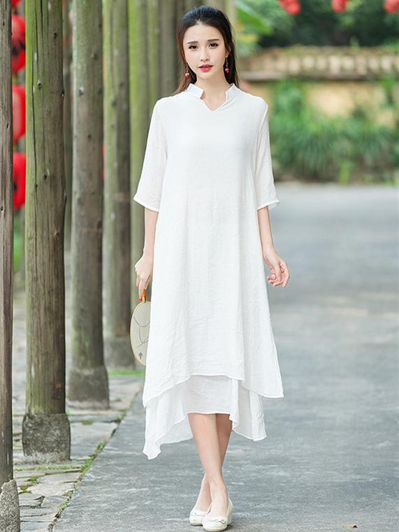 a9cee8531164f National Ramie Cotton White Solid Color Dress – moongor