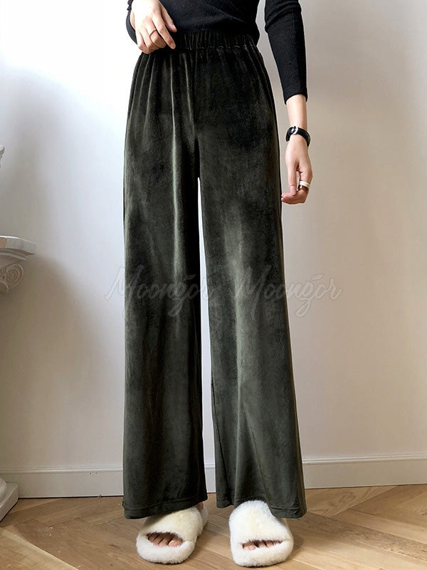 Casual Pleuche Wide Leg Thicken Pants