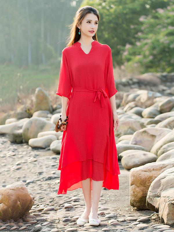 National Ramie Cotton Red Solid Color Dress