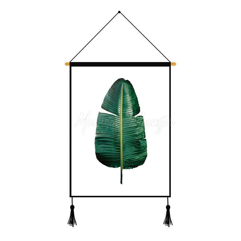Green Leaves Plants Printed Wall Hanging Decoration