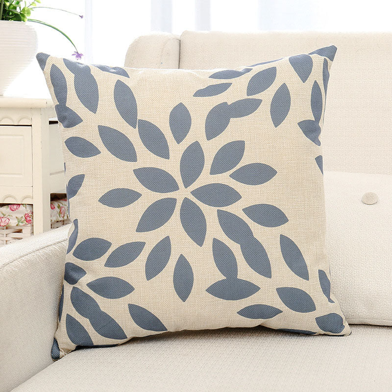 Blue Leaves Printed Pillow Case