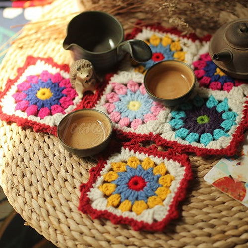 Red Daisy Mat Three-piece Set