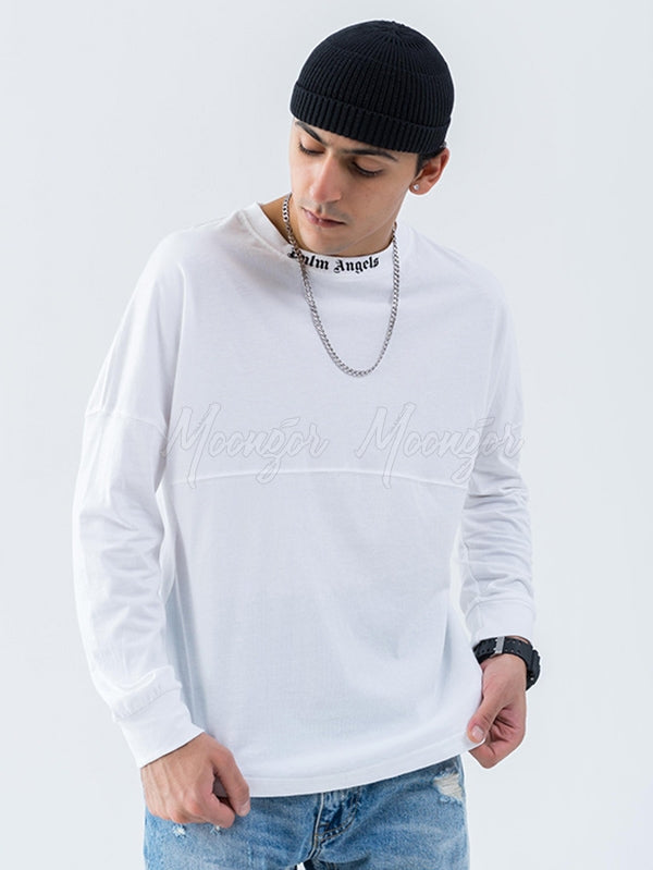 Men's Letter Print Long Sleeve Round-Neck T-Shirt