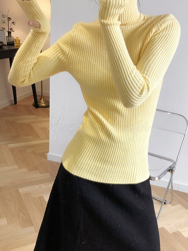 Casual Solid High-Neck Knitwear