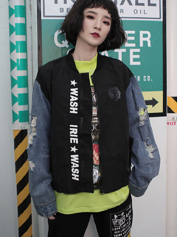 Hip-hop Split-joint Shredded Street Jeans Jacket