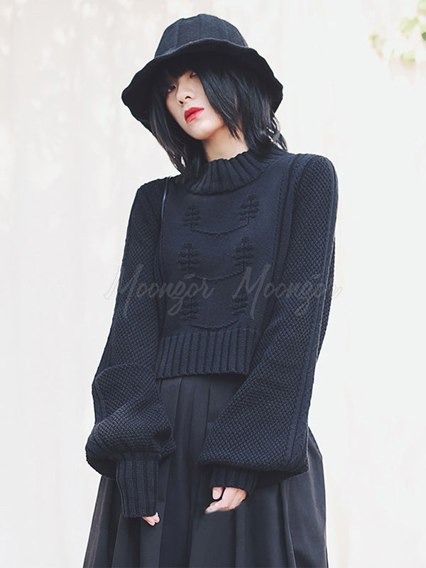 Twisted Flower Hollow Lantern Sleeves Short Sweater