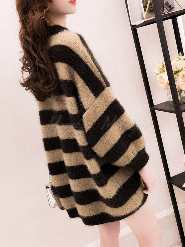 Striped Velet Thickening Loose Knitting Sweater