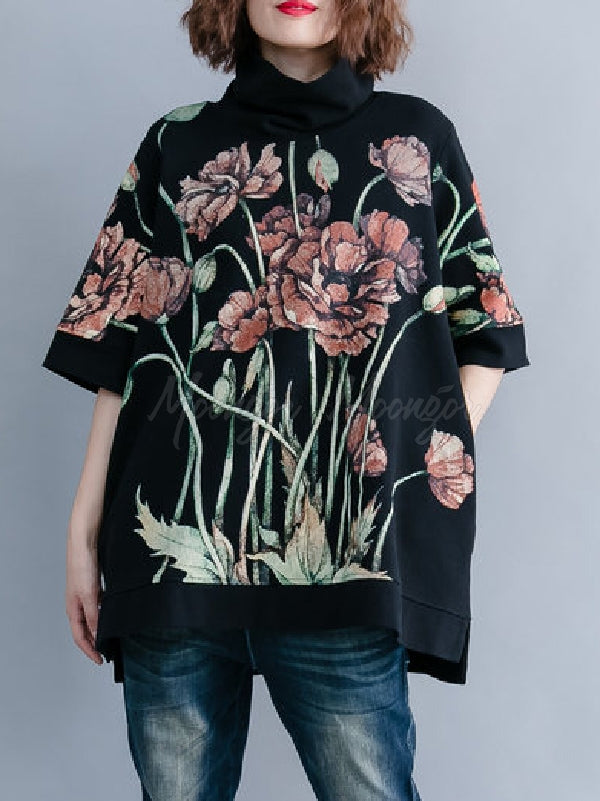 Casual Floral Printed High-neck Sweatshirt