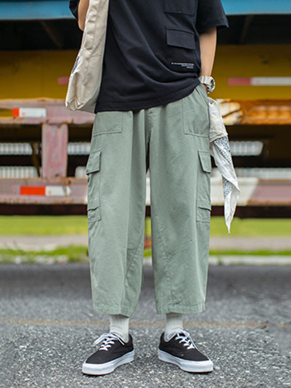 Casual Wide-leg Pocket Pants