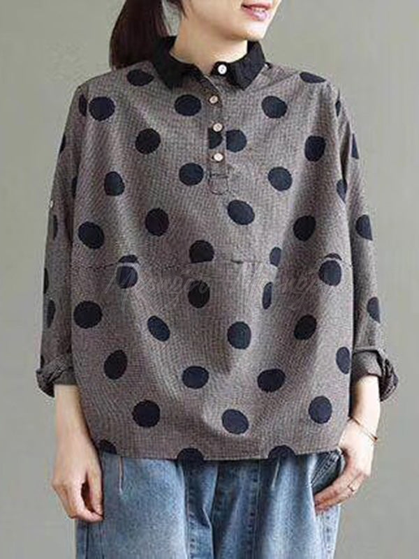 Casual Polka-dot Shirt Tops