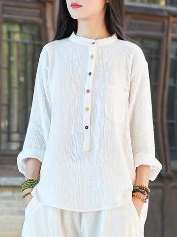 Simple Retro Loose Ramie Cotton Tops