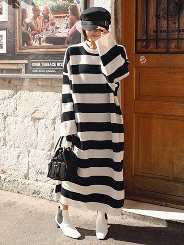 Knitting Loose Stripe Cotton Long Dress