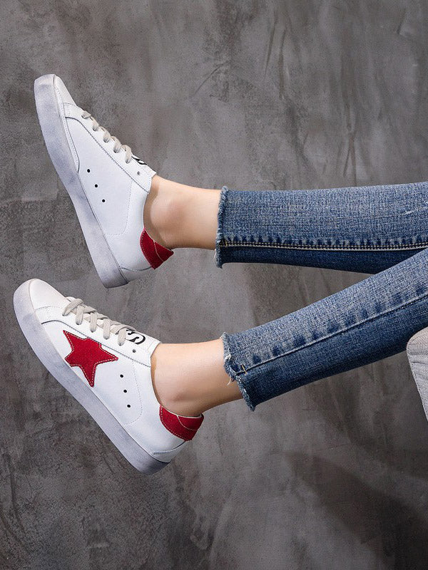 Star Printed Flat Heels Sneakers