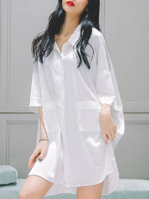 White Loose Short Sleeves Ice Silk Shirt Pajamas
