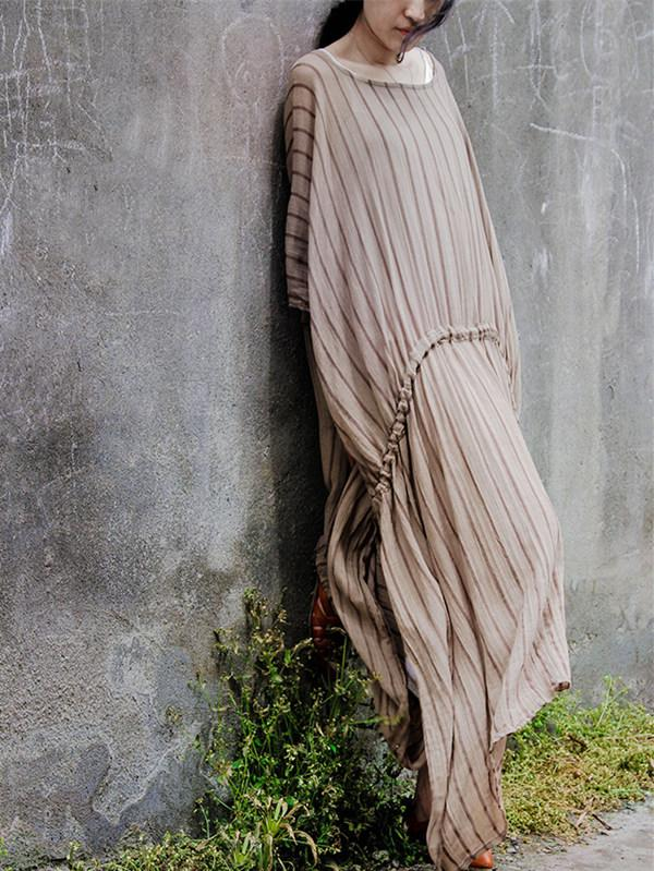 Pink&Blue Striped Split-side Long Dress