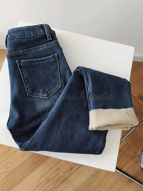High Waist Thickening Velvet Jean Pants