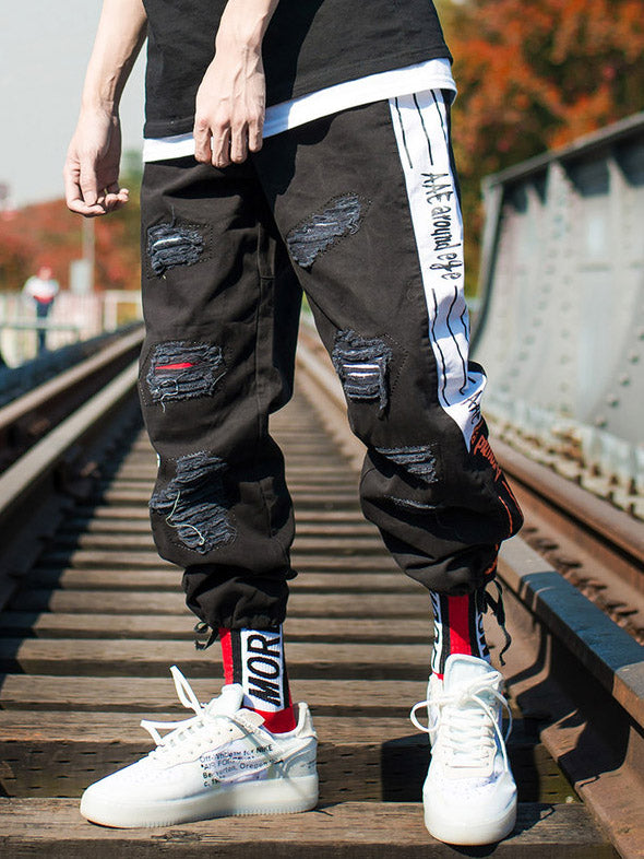 Men Street Fashion Hollow Cargo Pants