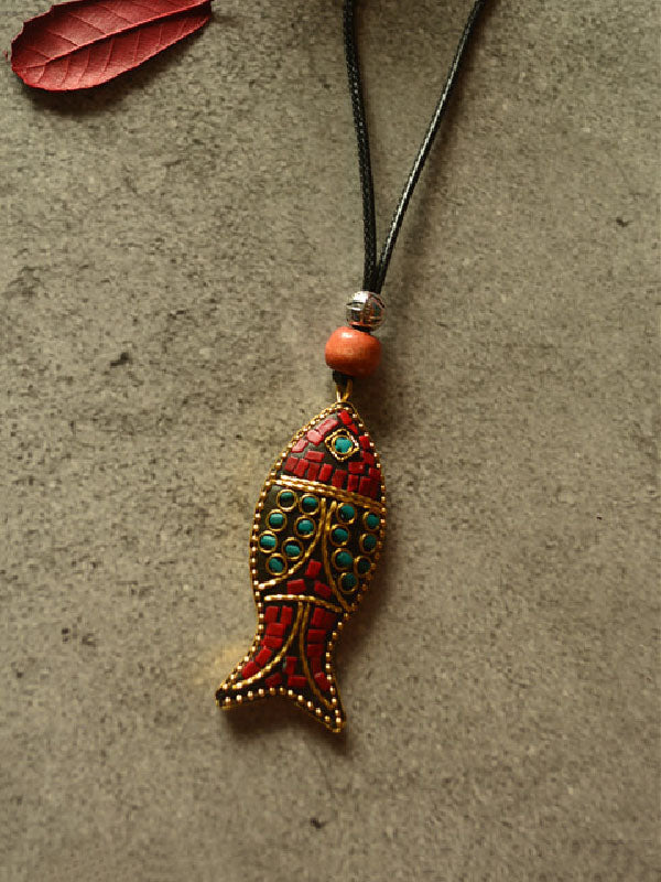 Ethnic Style Colored Fish Long Necklace