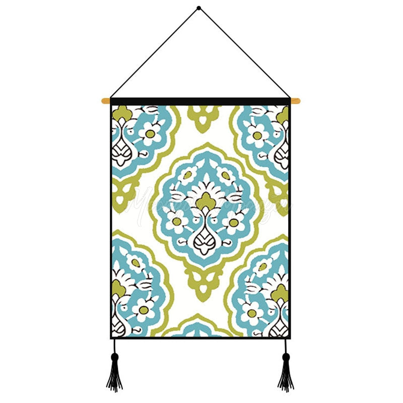 Blue Geometric Pattern Printed Wall Hanging Decoration
