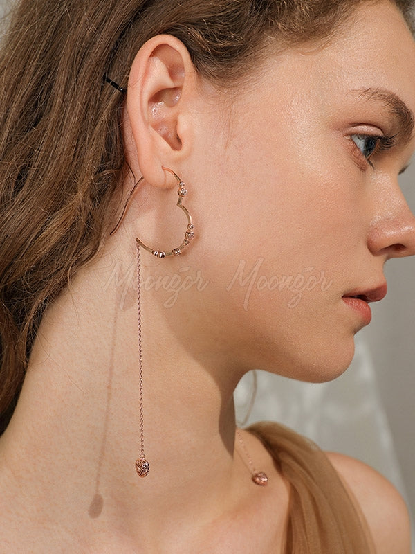Retro Rose Gold Loving Heart Earrings