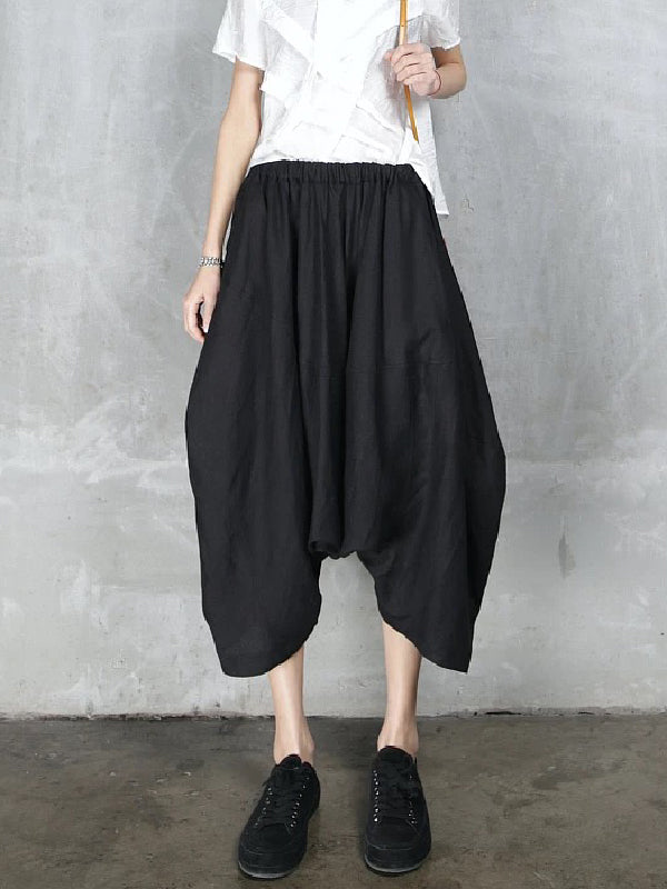 Loose Simple Black Cropped Pants